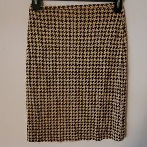 INC Black Tan Silk Houndstooth Pencil Skirt S